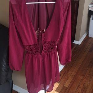 Cute Burgundy Dress